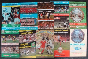 Collection of 10 different FA CHARITY SHIELD football programmes